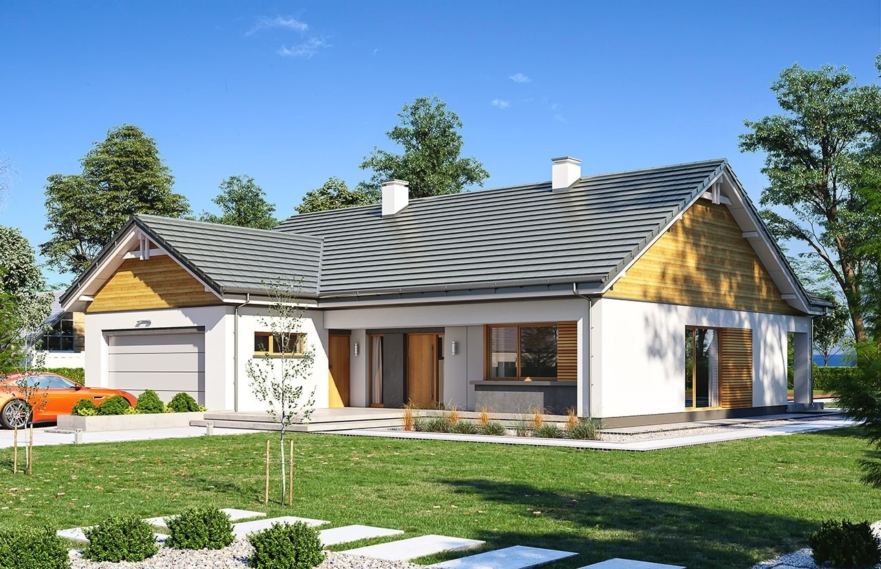 Projekt domu Parterowy 3 wariant B - wizualizacja frontowa
