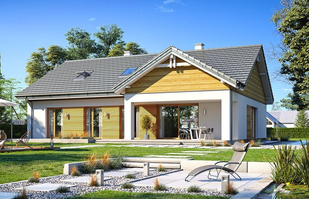 Projekt domu Parterowy 3 - wizualizacja tylna odbicie lustrzane