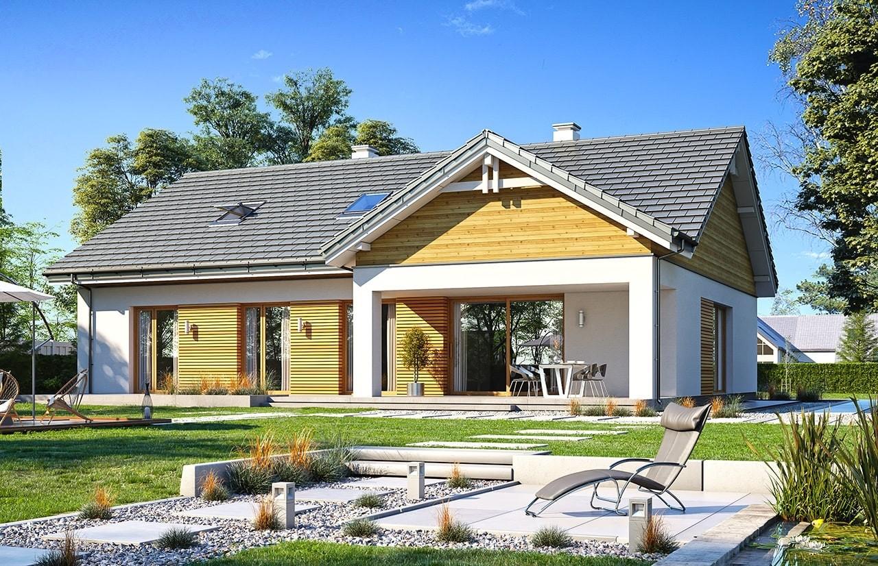 Projekt domu Parterowy 3 wariant B - wizualizacja tylna odbicie lustrzane