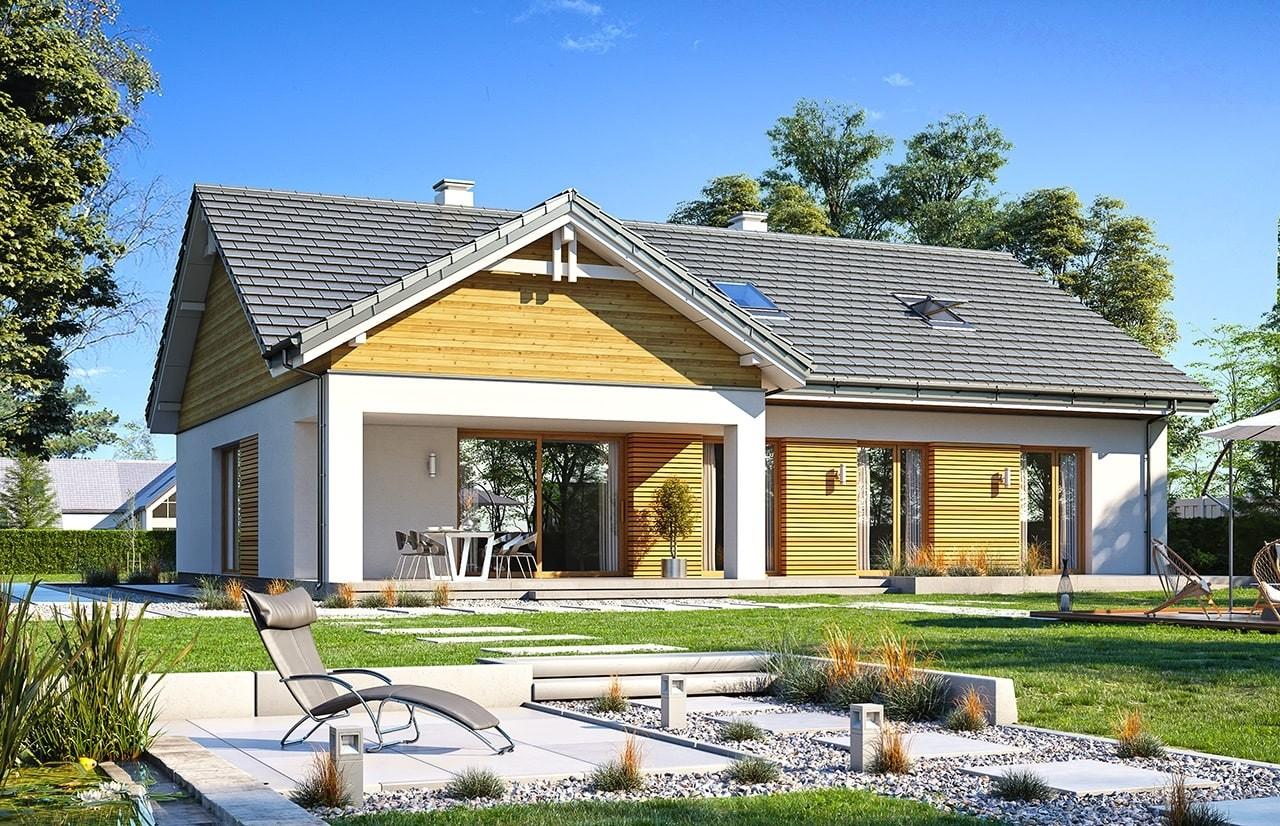 Projekt domu Parterowy 3 wariant B - wizualizacja tylna