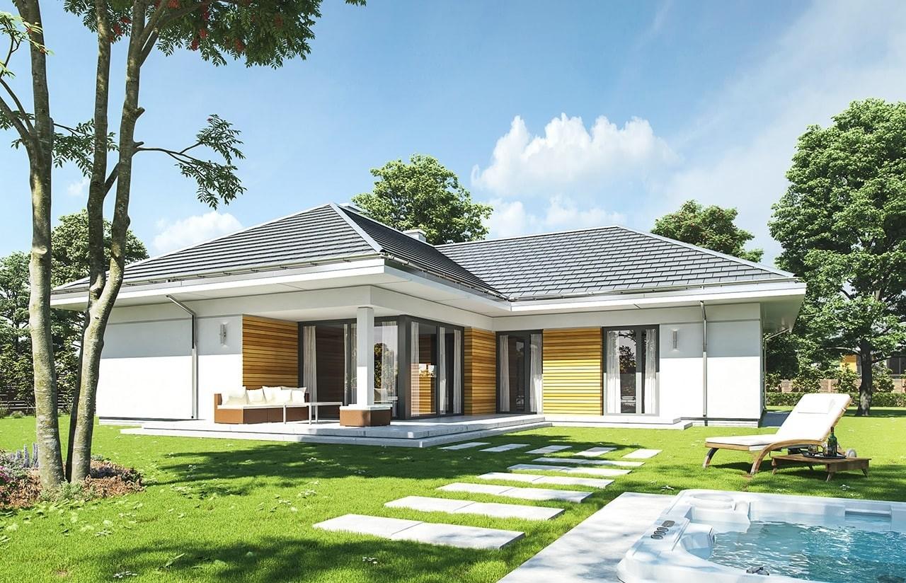 Projekt domu Parterowy - wizualizacja tylna odbicie lustrzane