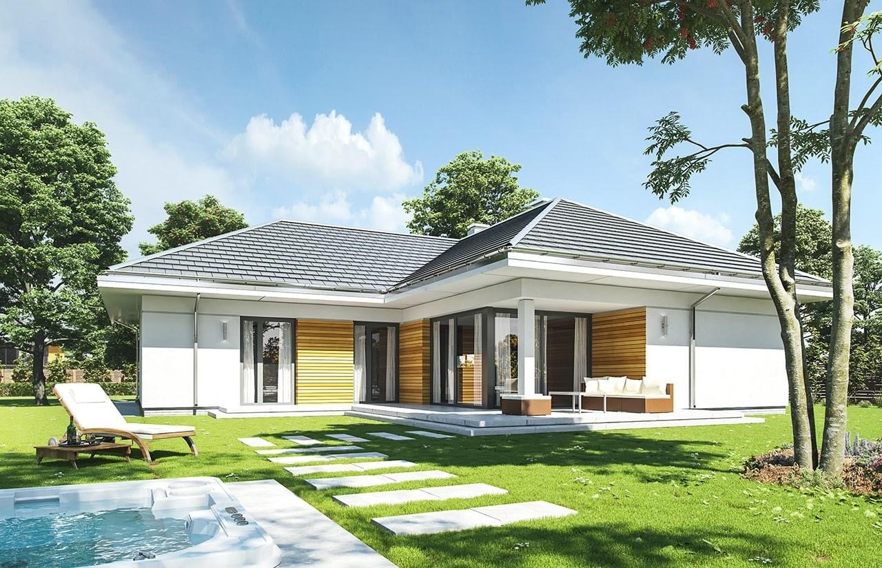 Projekt domu Parterowy - wizualizacja tylna