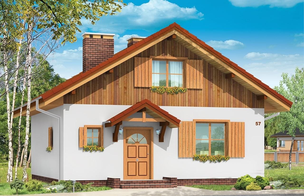 Projekt domu Pchełka - wizualizacja frontowa
