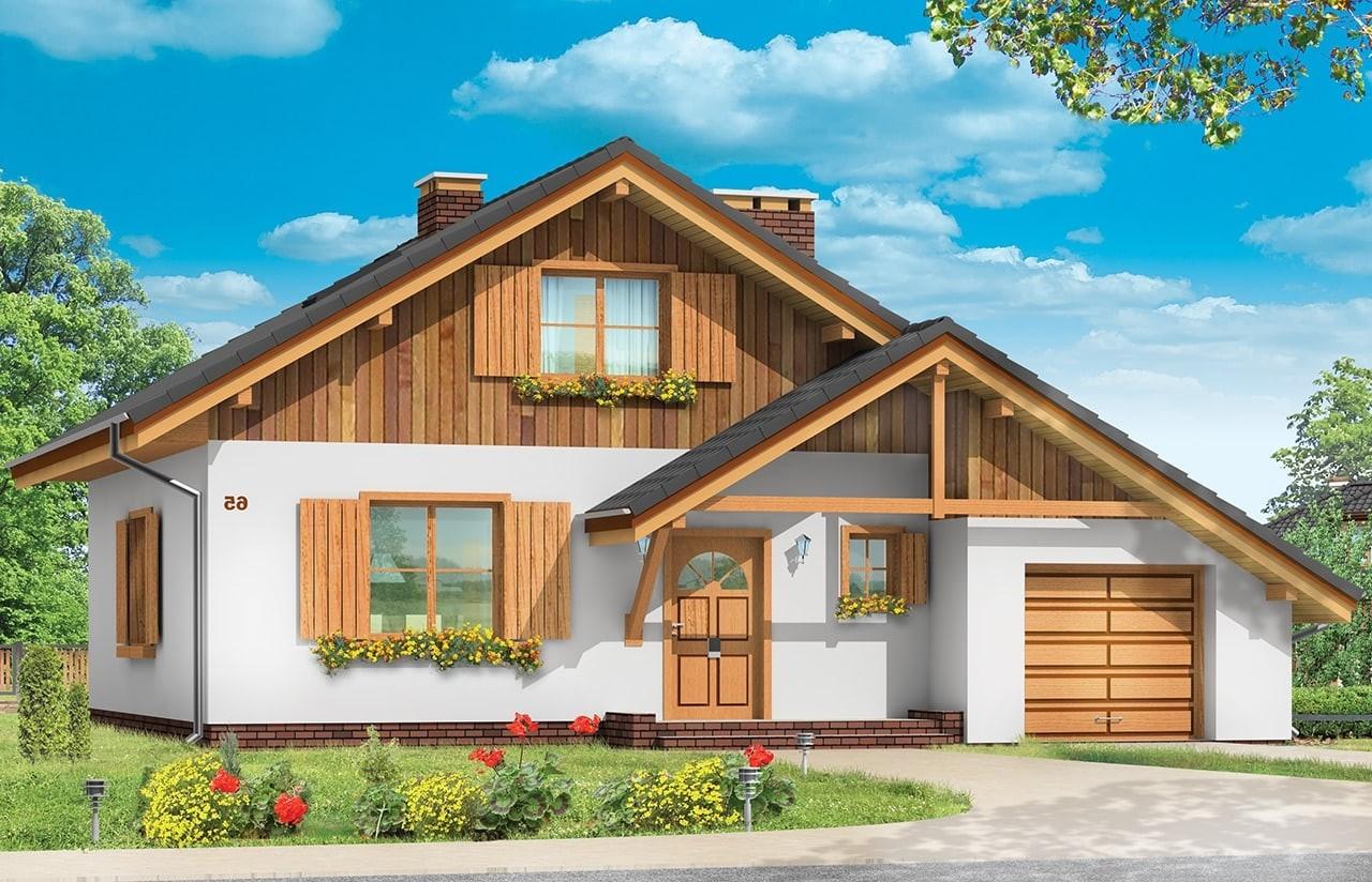 Projekt domu Pchełka z garażem - wizualizacja frontowa odbicie lustrzane