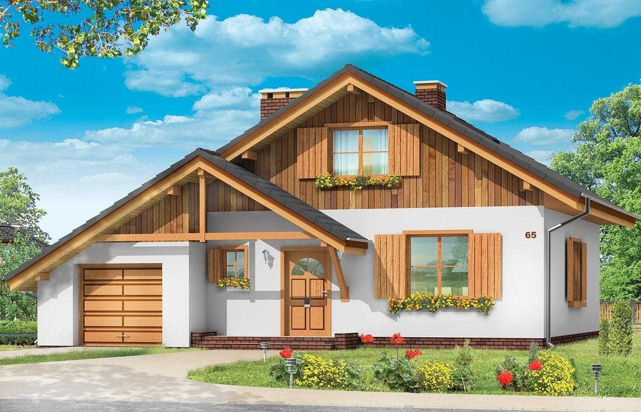 Projekt domu Pchełka z garażem - wizualizacja frontowa