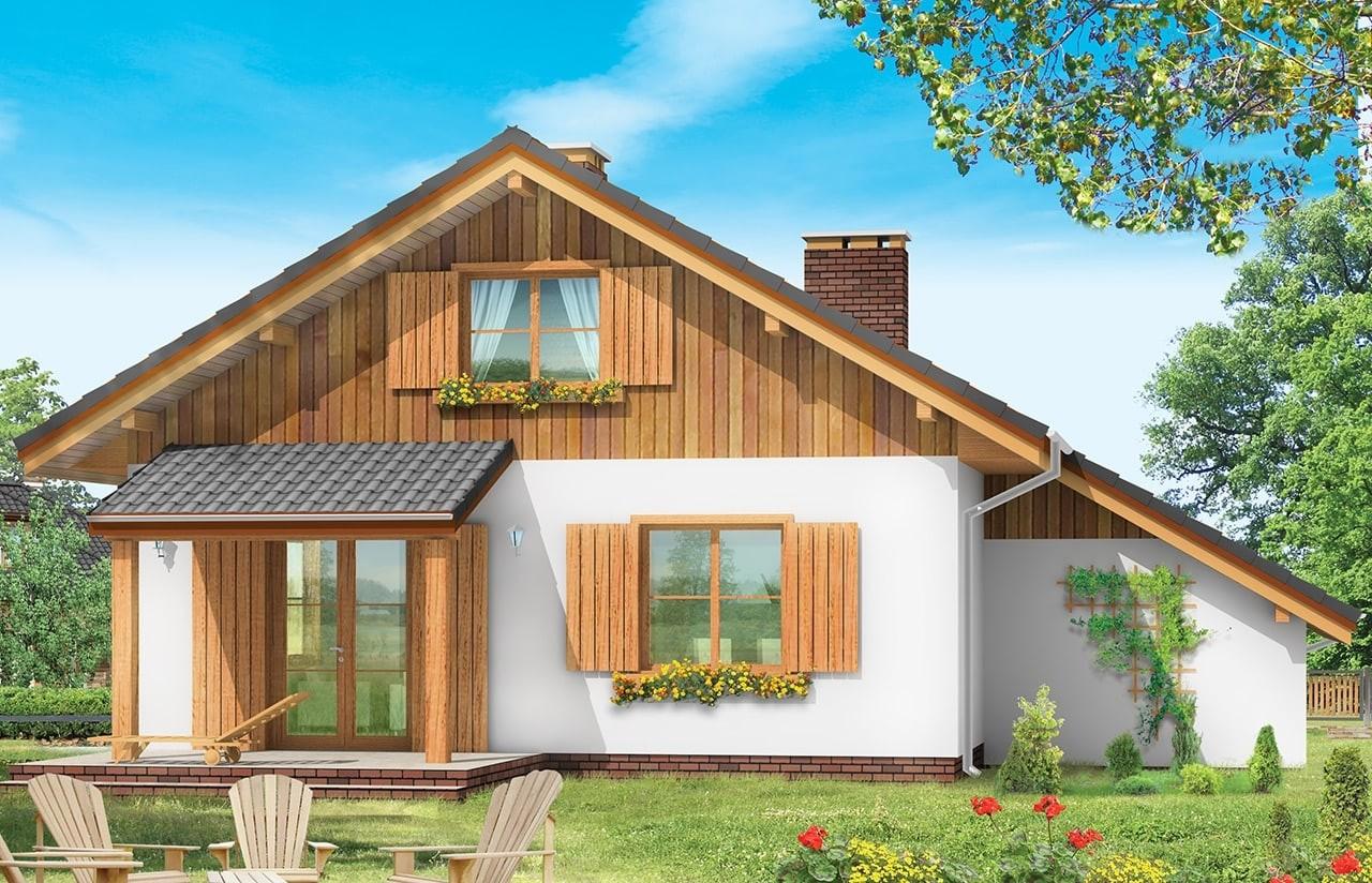 Projekt domu Pchełka z garażem - wizualizacja tylna