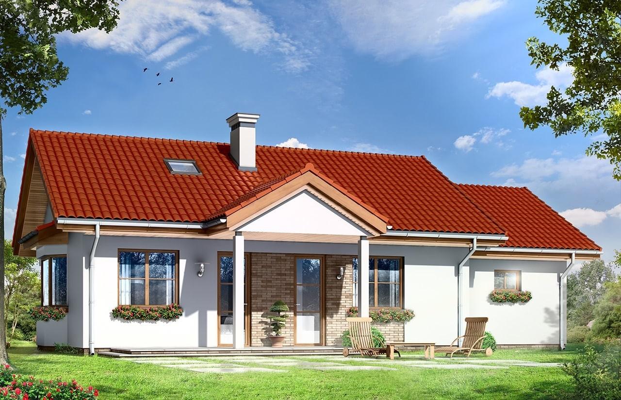 Projekt domu Perełka 2 - wizualizacja tylna