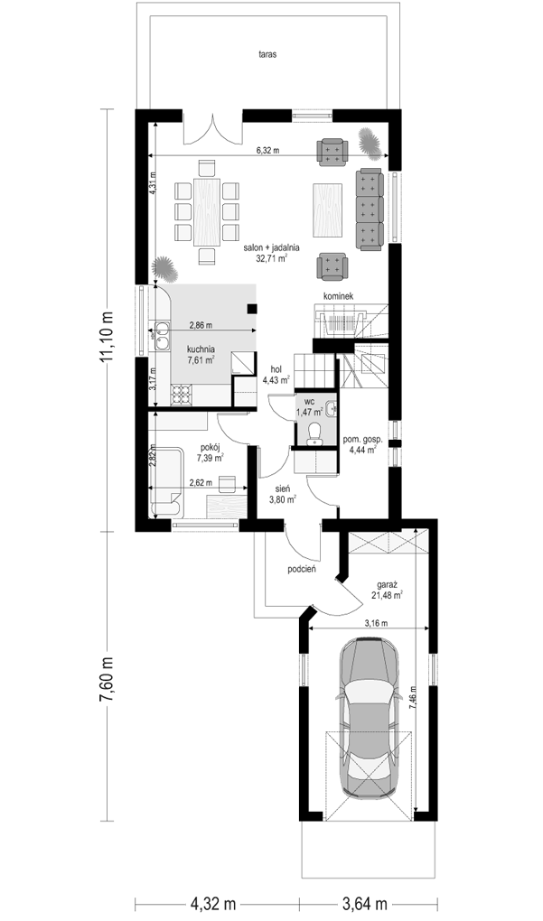 Pierwszy dom 2 - rzut parteru odbicie lustrzane