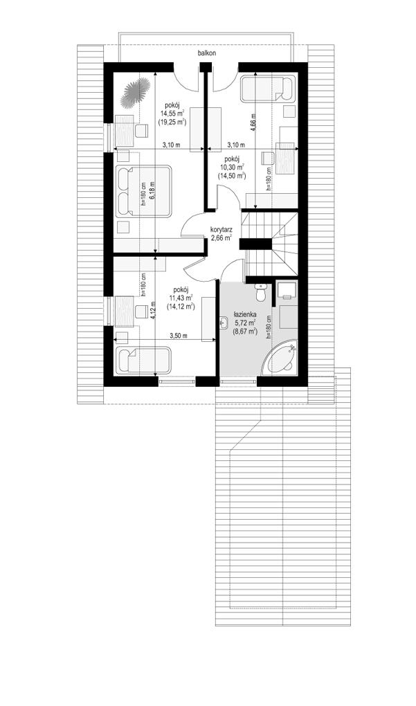 Pierwszy dom 2 - rzut poddasza odbicie lustrzane