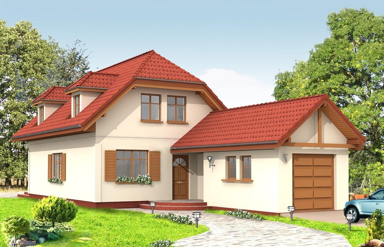 Projekt domu Pierwszy Dom 2 - wizualizacja frontowa odbicie lustrzane