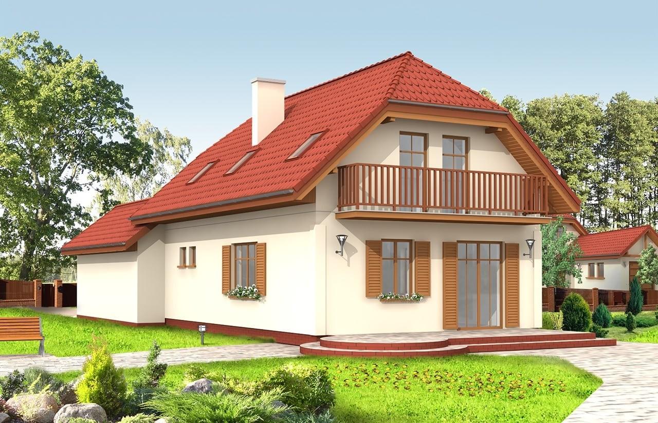 Projekt domu Pierwszy Dom 2 - wizualizacja tylna odbicie lustrzane