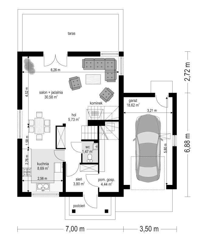 Pierwszy dom 3 - rzut parteru odbicie lustrzane