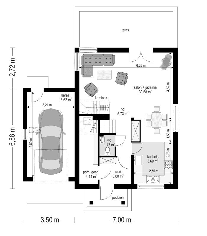 Pierwszy dom 3 - rzut parteru