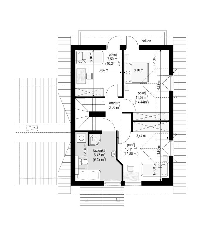 Pierwszy dom 3 - rzut poddasza