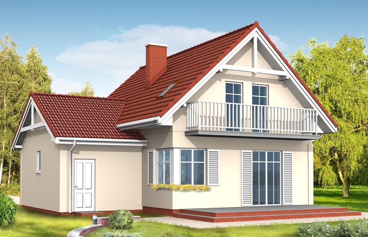 Projekt domu Pierwszy Dom 3 - wizualizacja tylna odbicie lustrzane