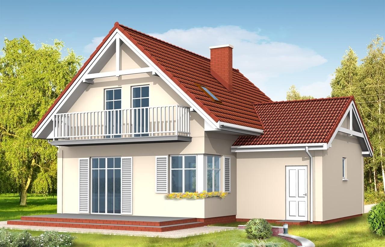 Projekt domu Pierwszy Dom 3 - wizualizacja tylna