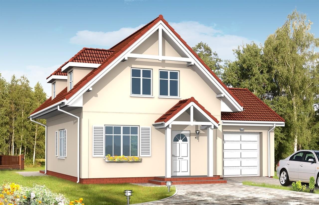 Projekt domu Pierwszy Dom 3 - wizualizacja frontowa odbicie lustrzane