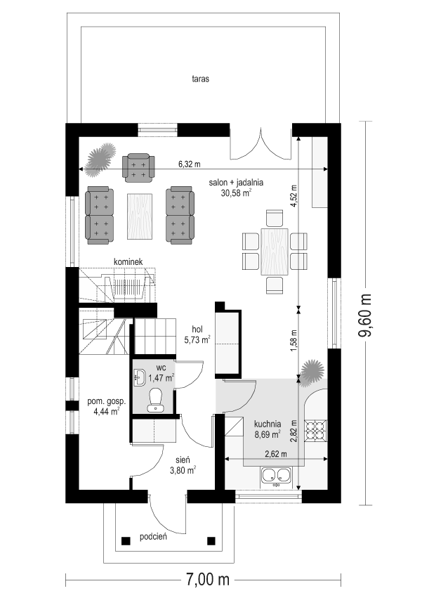 Pierwszy dom - rzut parteru