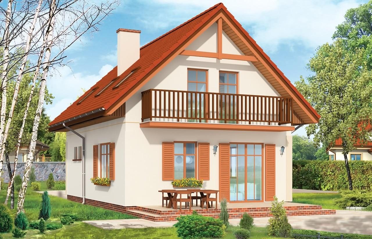 Projekt domu Pierwszy Dom - wizualizacja tylna odbicie lustrzane