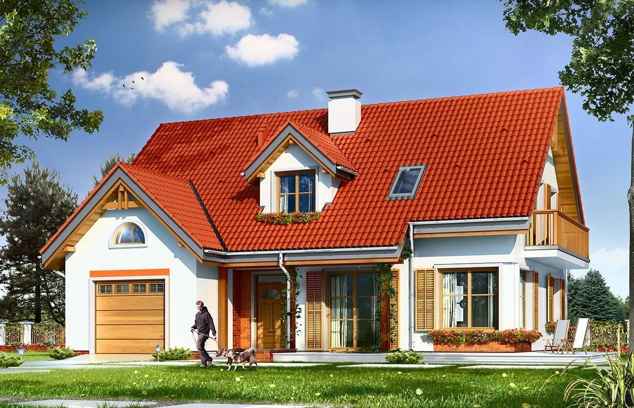 Projekt domu Pod dębami - wizualizacja frontowa odbicie lustrzane