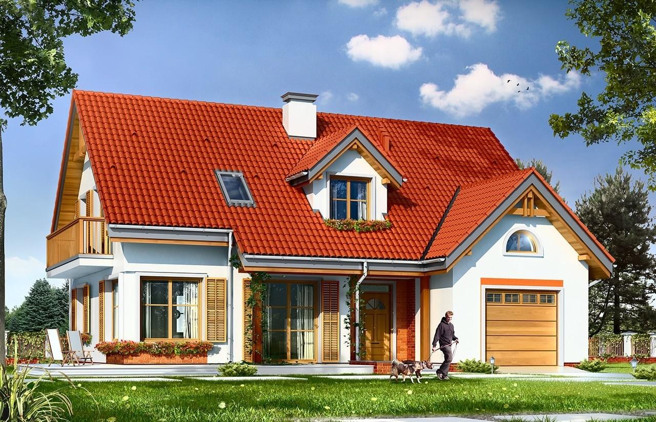 Projekt domu Pod dębami - wizualizacja frontowa