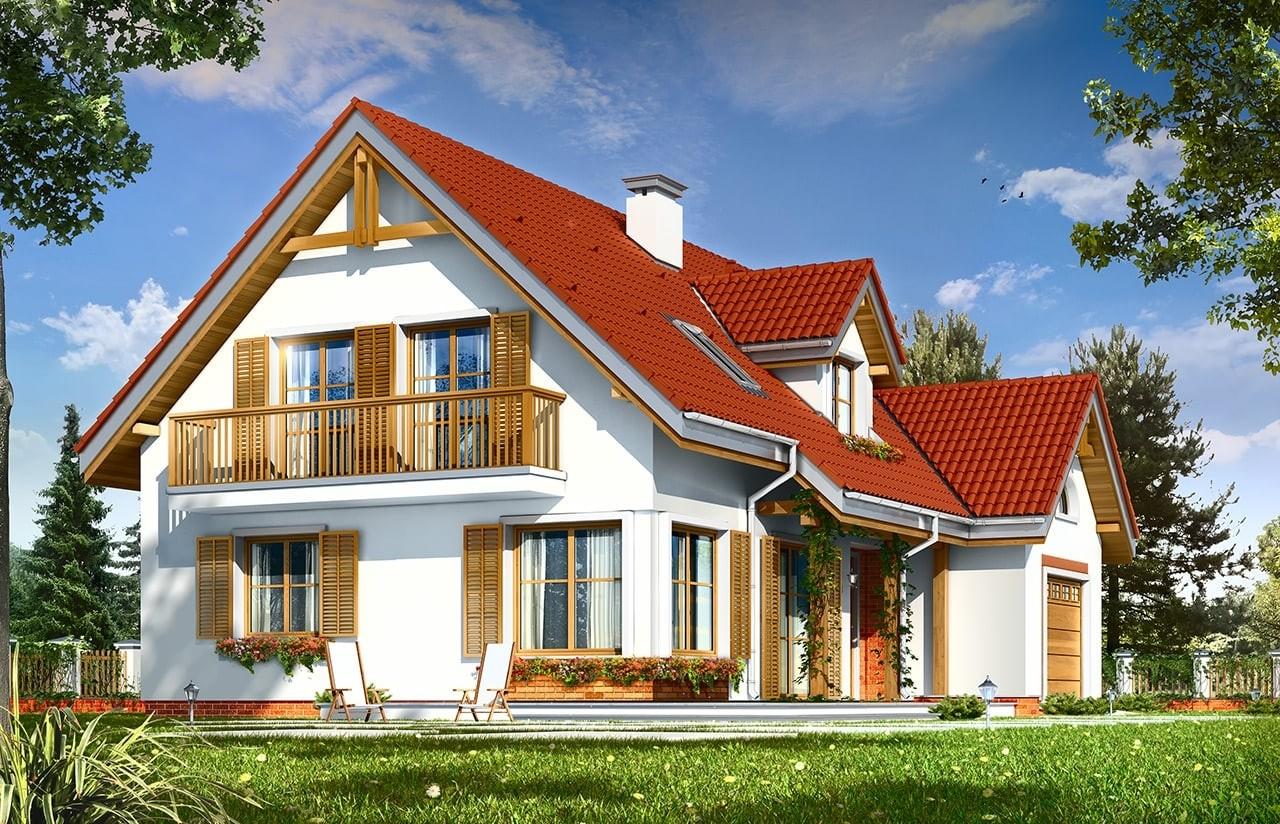 Projekt domu Pod dębami - wizualizacja tylna