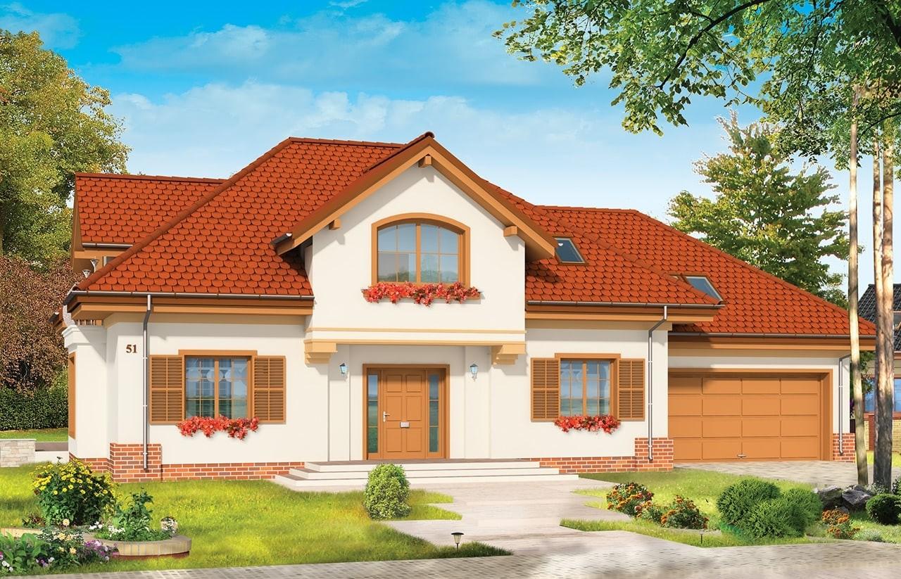 Projekt domu Pod Dębem - wizualizacja frontowa