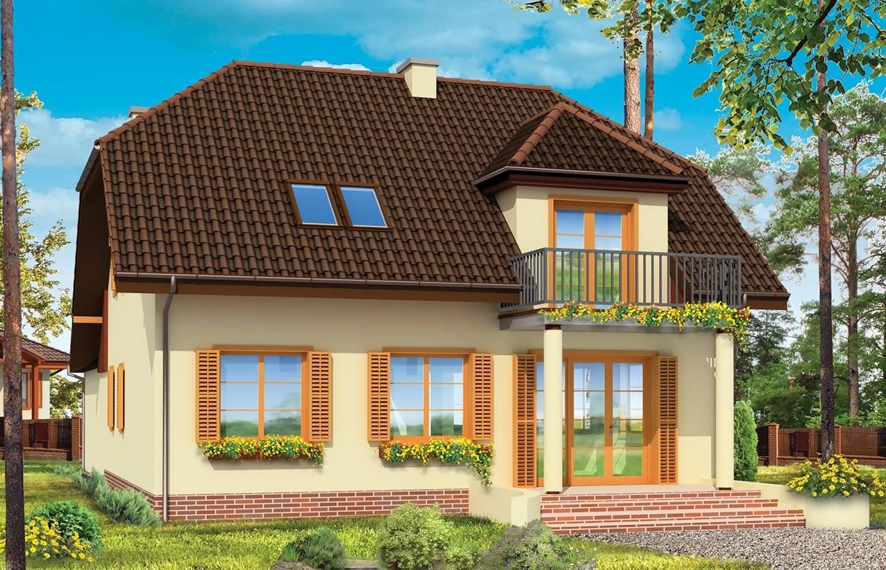 Projekt domu Pogodny 4 - wizualizacja tylna odbicie lustrzane
