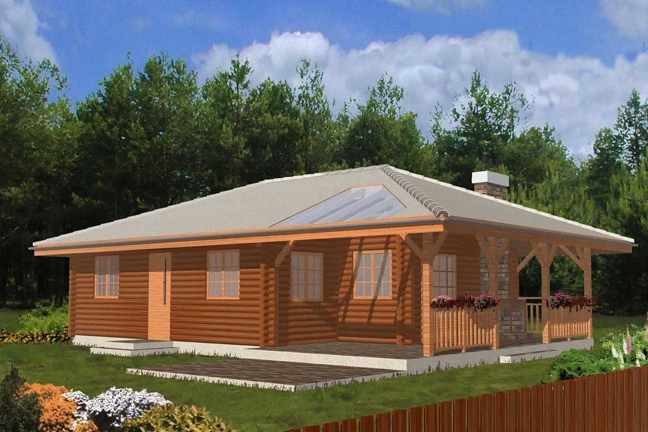 Projekt domu Pogodny Drewniany - wizualizacja frontowa odbicie lustrzane