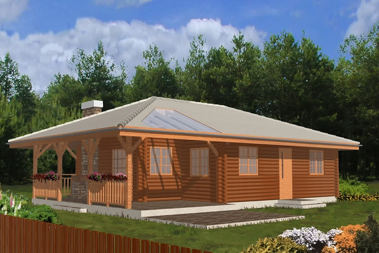 Projekt domu Pogodny Drewniany - wizualizacja frontowa