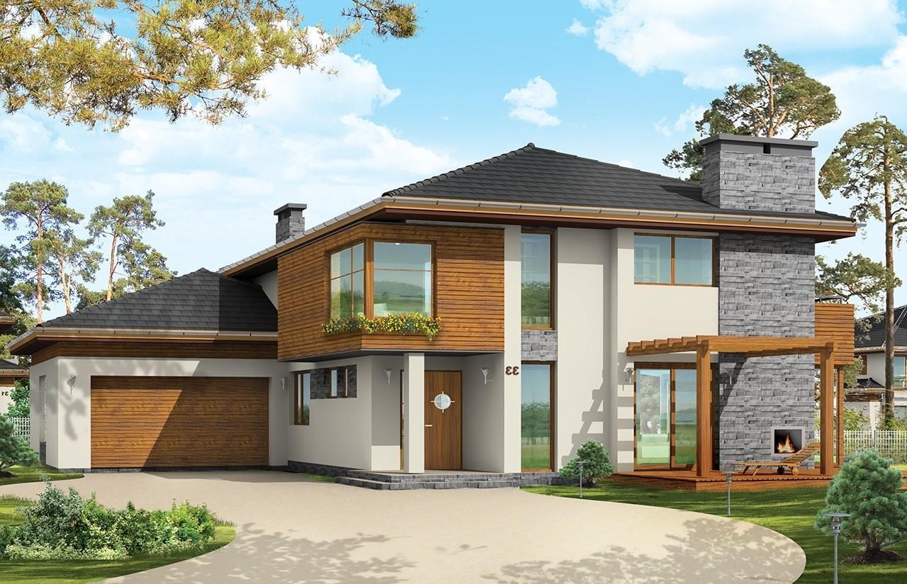 Projekt domu Południowy - wizualizacja frontowa odbicie lustrzane
