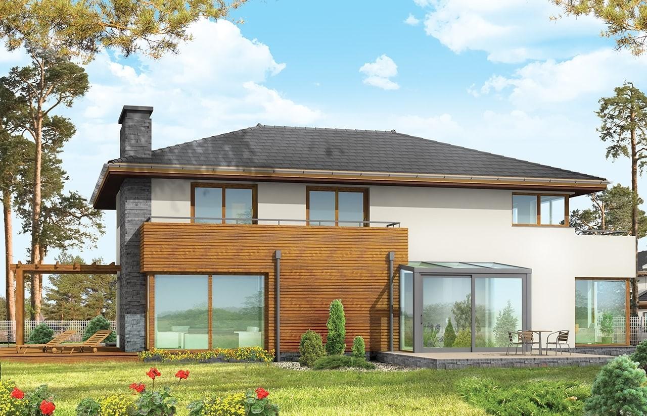Projekt domu Południowy - wizualizacja tylna odbicie lustrzane