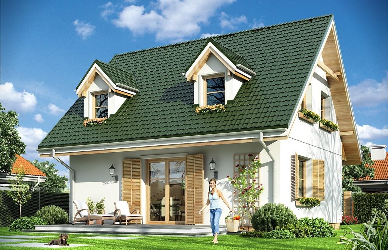 Projekt domu Poziomka - wizualizacja tylna