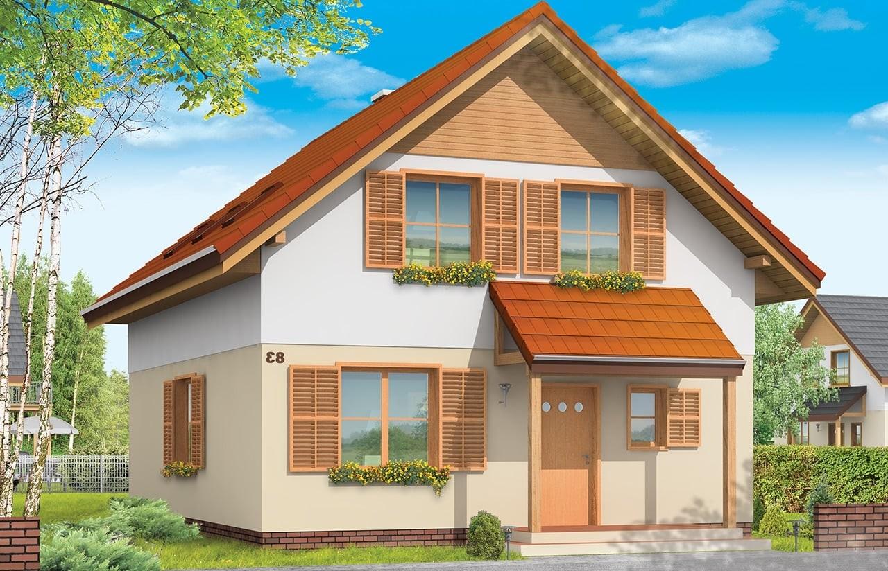 Projekt domu Praktyczny B - wizualizacja frontowa odbicie lustrzane