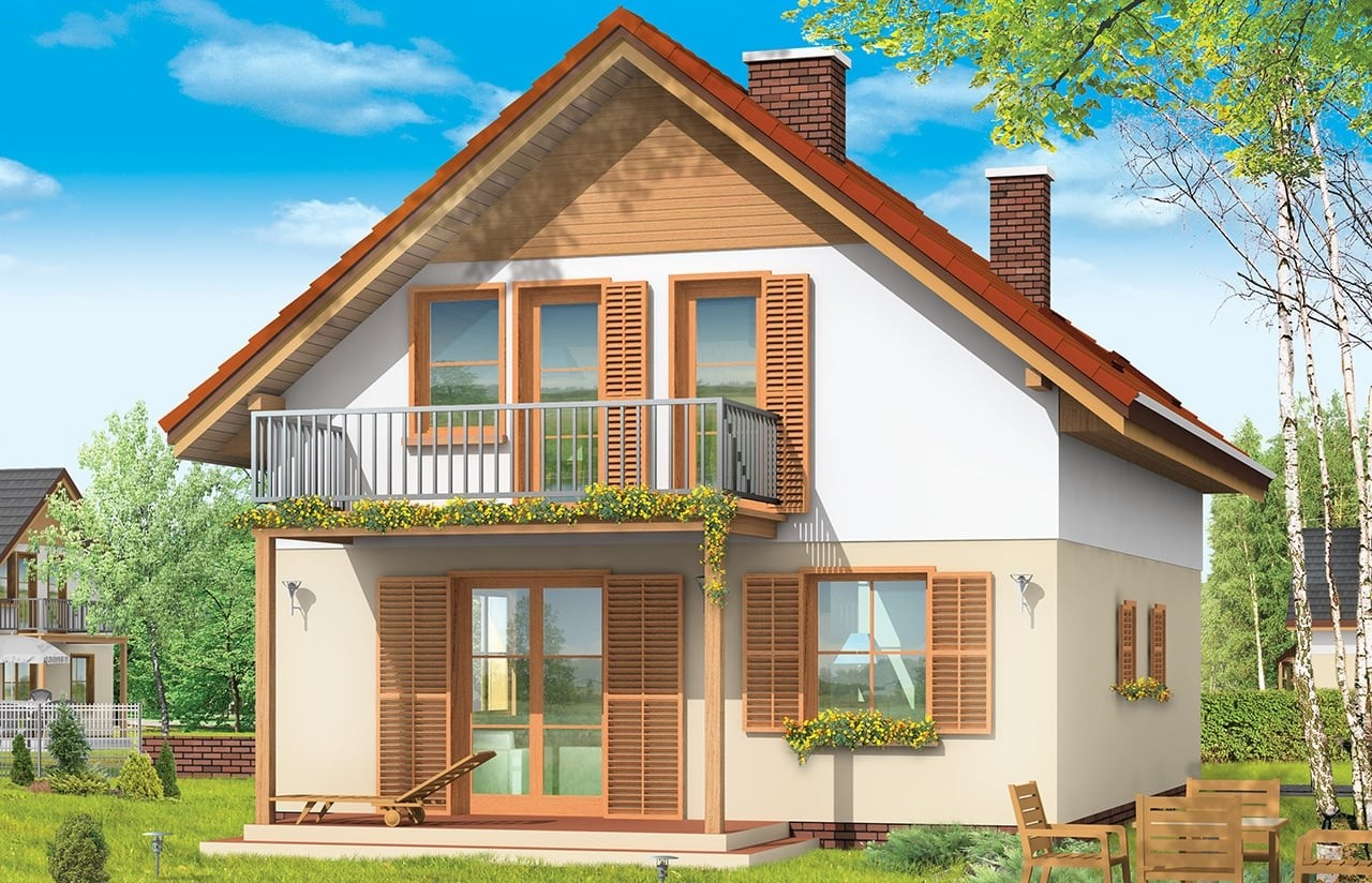 Projekt domu Praktyczny B - wizualizacja tylna