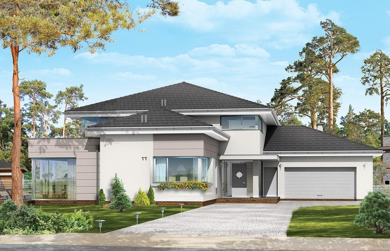 Projekt domu Prestiżowy - wizualizacja frontowa odbicie lustrzane
