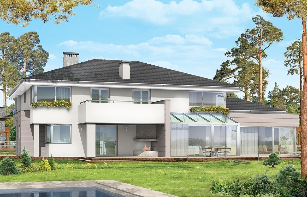 Projekt domu Prestiżowy - wizualizacja tylna odbicie lustrzane