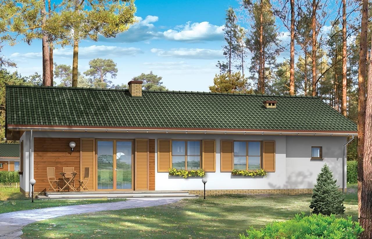Projekt domu Promyk - wizualizacja tylna odbicie lustrzane