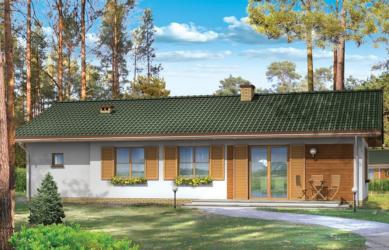 Projekt domu Promyk - wizualizacja tylna