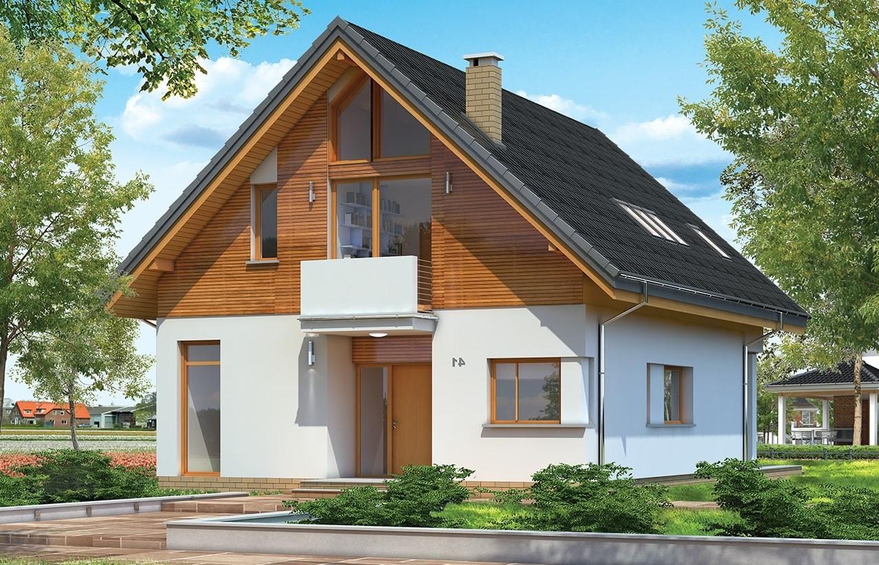 Projekt domu Prosty - wizualizacja frontowa odbicie lustrzane
