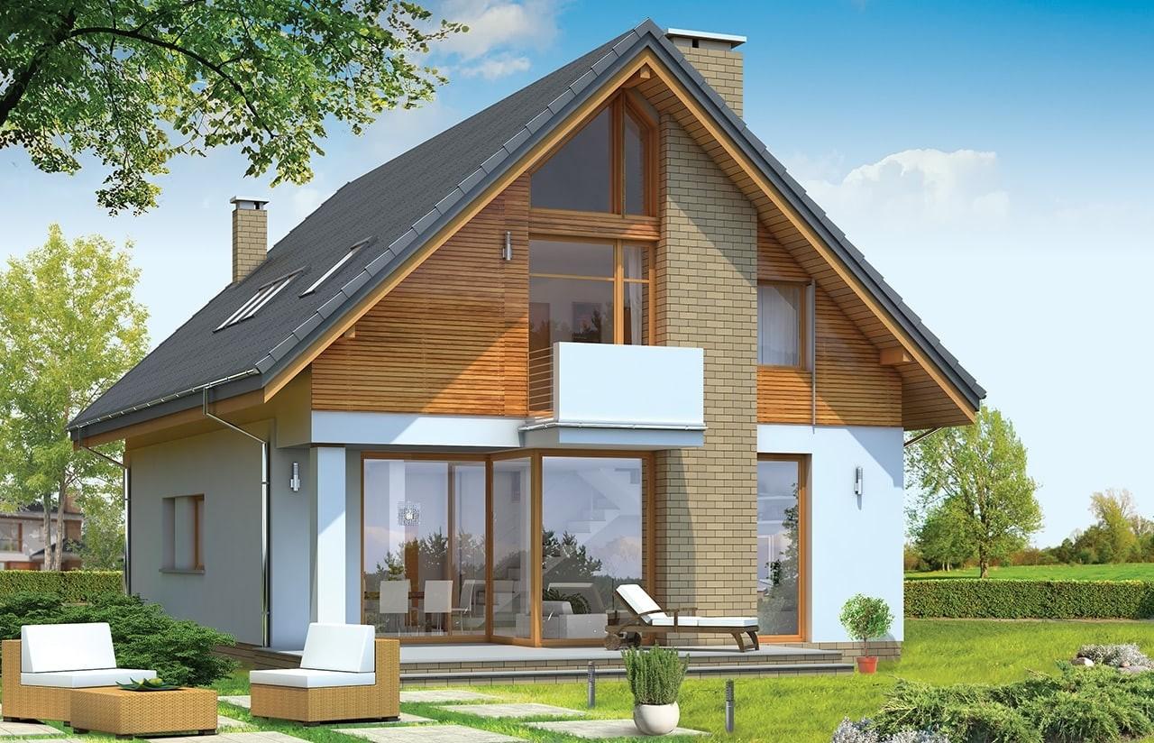 Projekt domu Prosty - wizualizacja tylna odbicie lustrzane