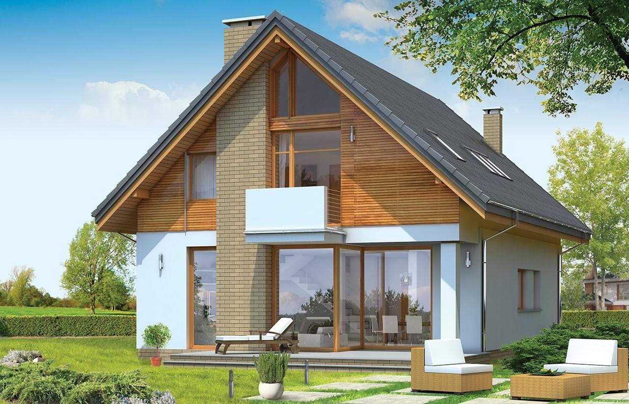 Projekt domu Prosty - wizualizacja tylna