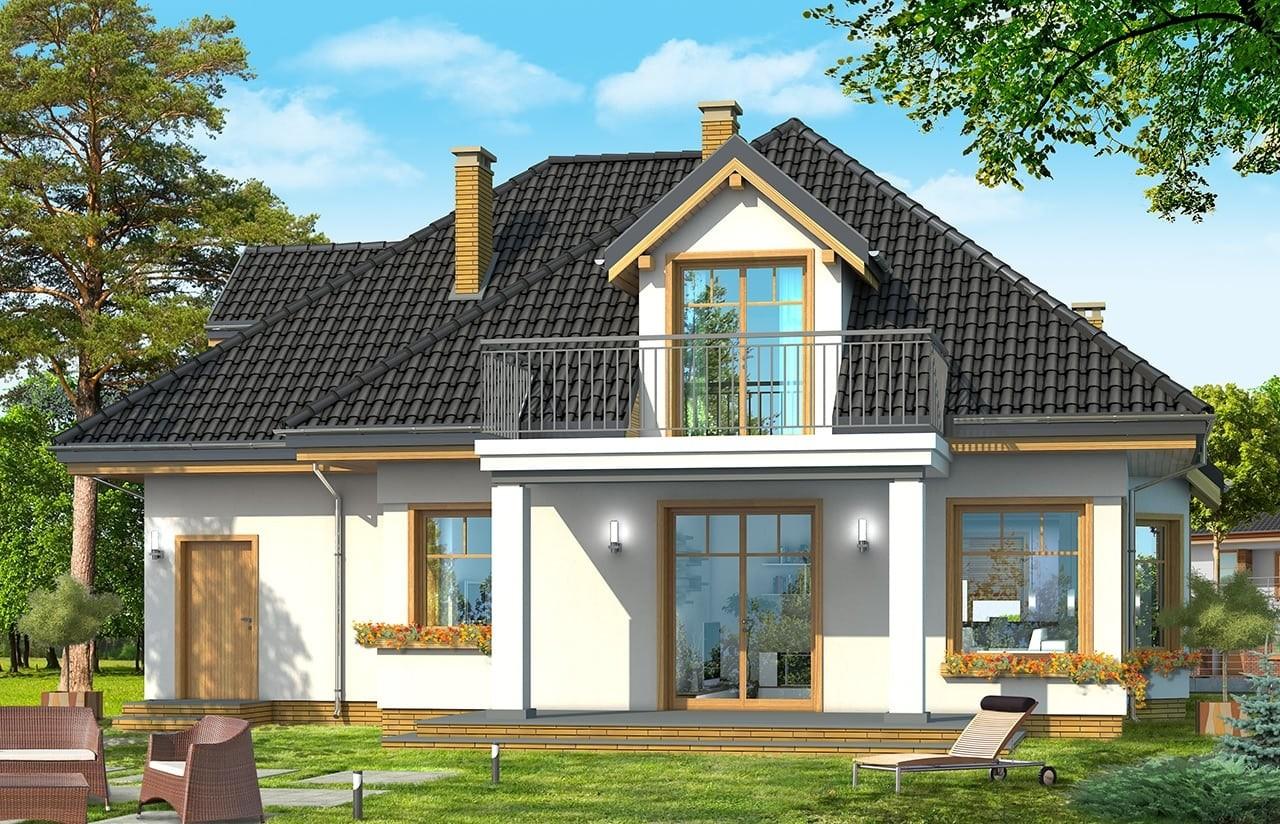 Projekt domu Prymus - wizualizacja tylna odbicie lustrzane