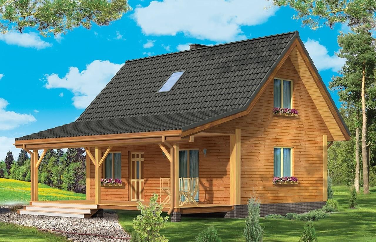 Projekt domu Przepiórka - wizualizacja frontowa odbicie lustrzane