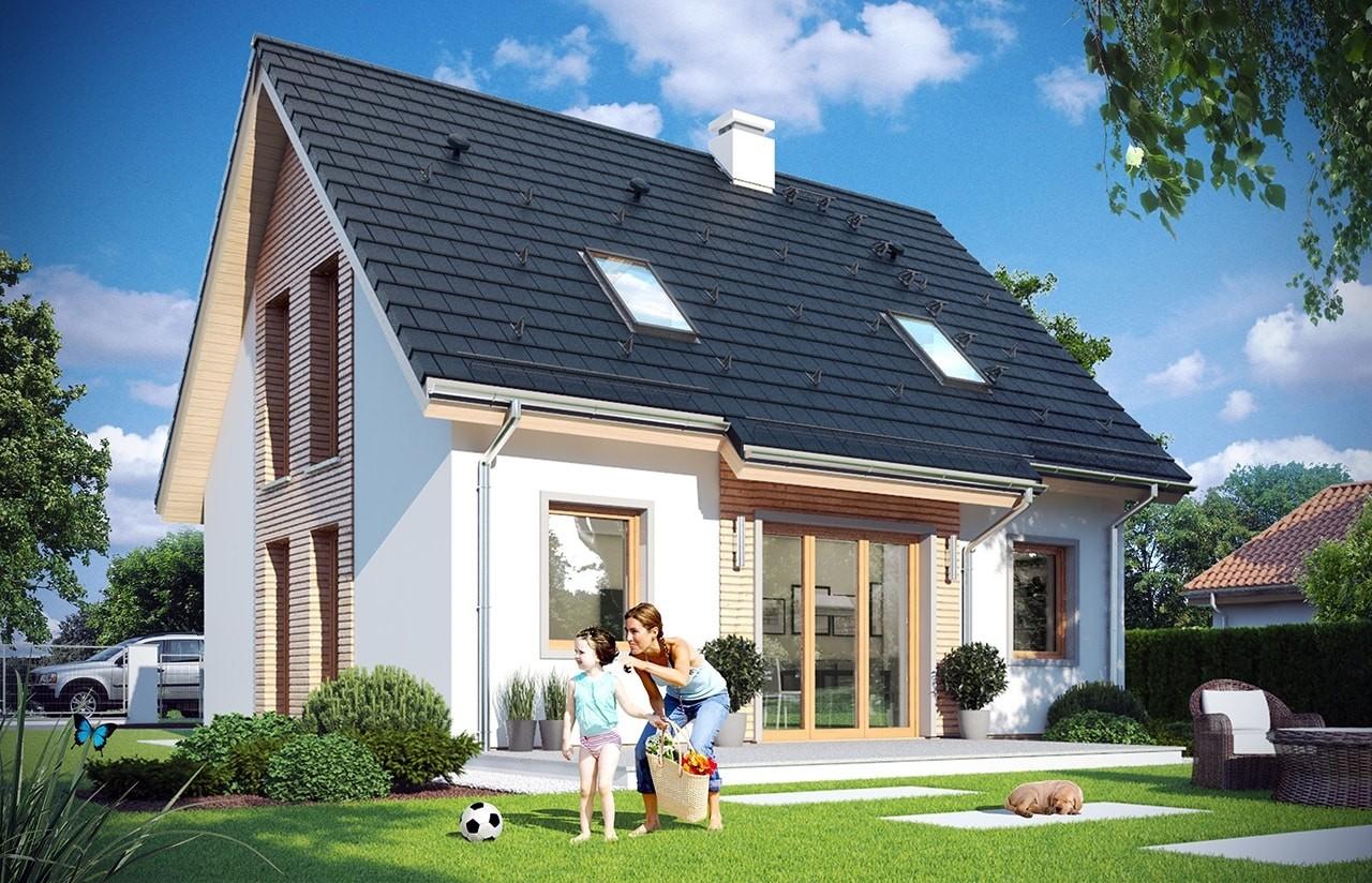 Projekt domu Przygoda 2 - wizualizacja tylna odbicie lustrzane