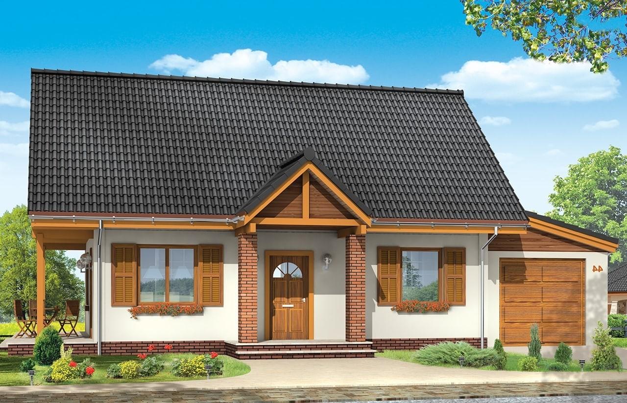 Projekt domu Radosny z garażem - wizualizacja frontowa odbicie lustrzane