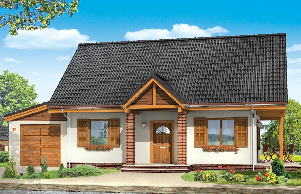 Projekt domu Radosny z garażem - wizualizacja frontowa