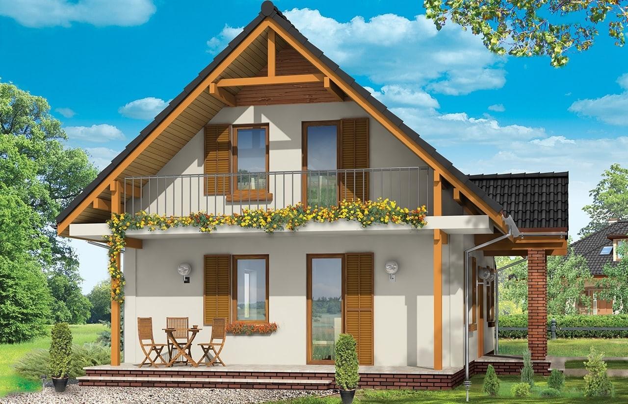 Projekt domu Radosny z garażem - wizualizacja tylna odbicie lustrzane