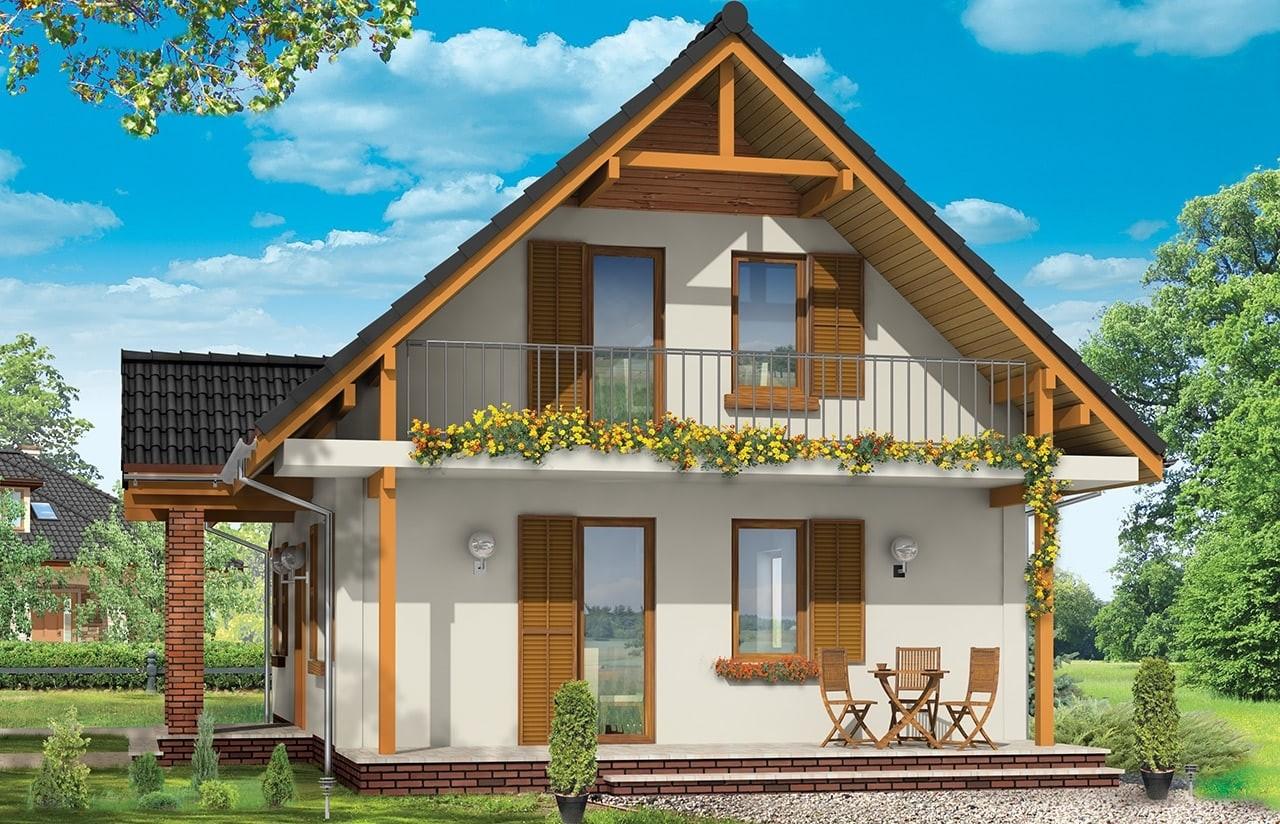 Projekt domu Radosny z garażem - wizualizacja tylna