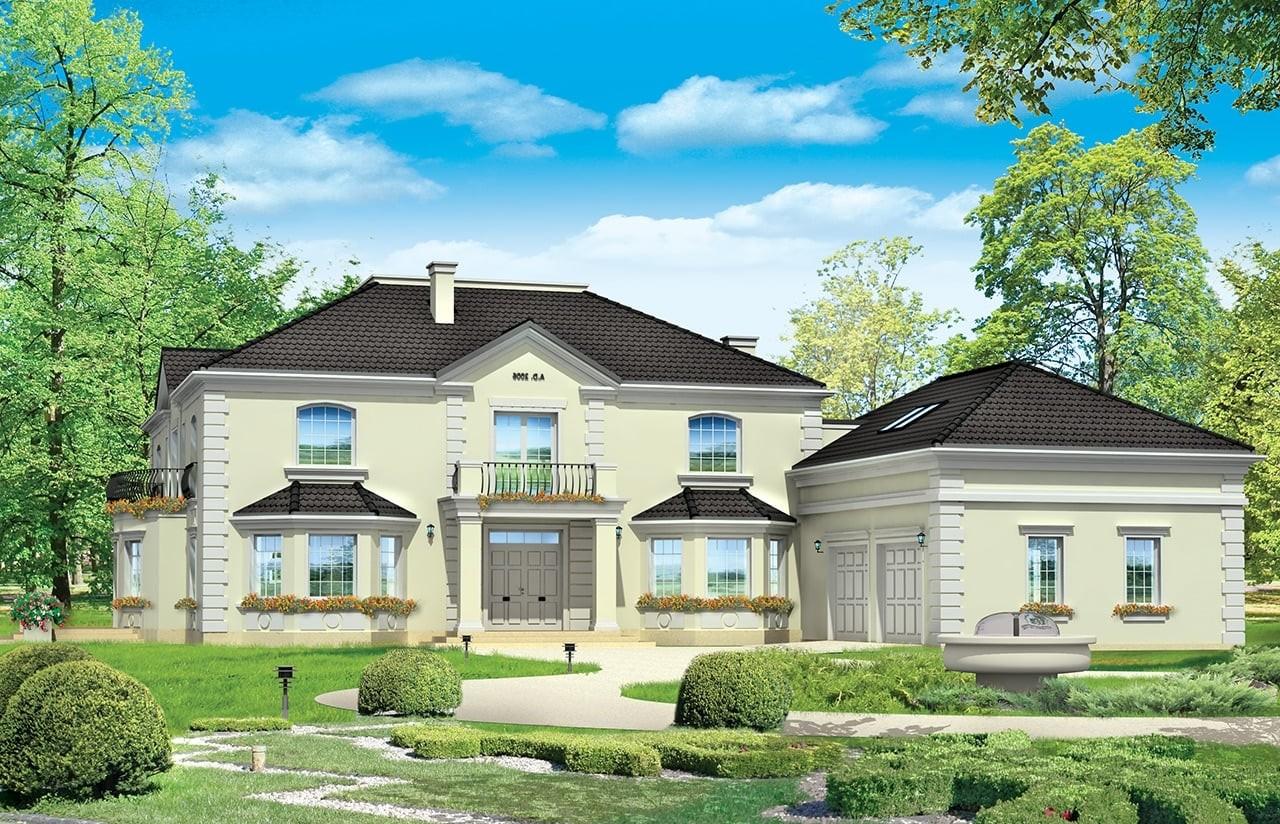 Projekt domu Regent - wizualizacja frontowa odbicie lustrzane